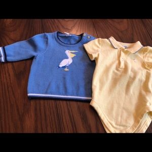 Janie and jack boys sweater and onesie.